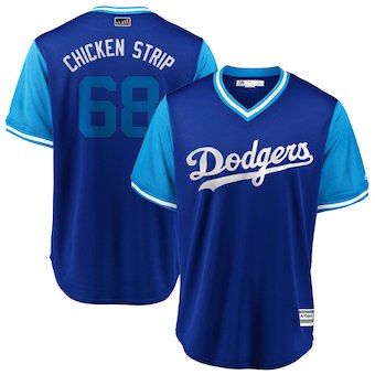 Men's Los Angeles Dodgers 68 Ross Stripling Chicken Strip Light Blue 2018 Players' Weekend Cool Base Jersey