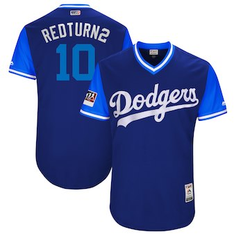 Men's Los Angeles Dodgers 10 Justin Turner Redturn2 Majestic Royal 2018 Players' Weekend Authentic Jersey