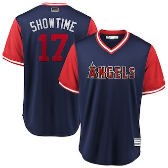 Men's Los Angeles Angels 17 Shohei Ohtani Showtime Majestic Navy 2018 Players' Weekend Cool Base Jersey