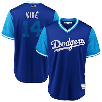 Men's Los Angeles Dodgers 14 Enrique Hernandez Kiké Majestic Royal 2018 Players' Weekend Cool Base Jersey