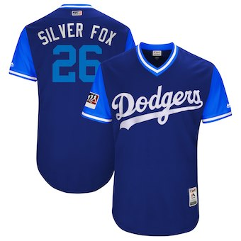 Men's Los Angeles Dodgers 26 Chase Utley Silver Fox Majestic Royal 2018 Players' Weekend Authentic Jersey