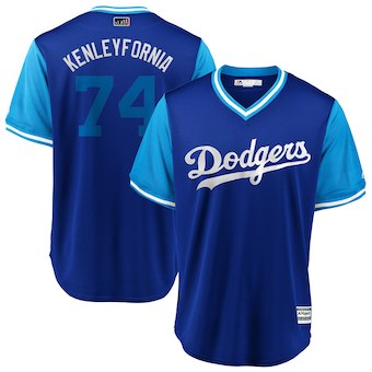 Men's Los Angeles Dodgers 74 Kenley Jansen Kenleyfornia Majestic Royal 2018 Players' Weekend Cool Base Jersey