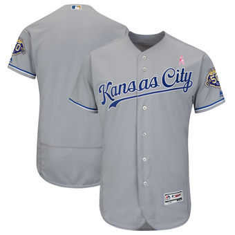 Men's Kansas City Royals Majestic Gray 2018 Mother's Day Road Flex Base Team Jersey