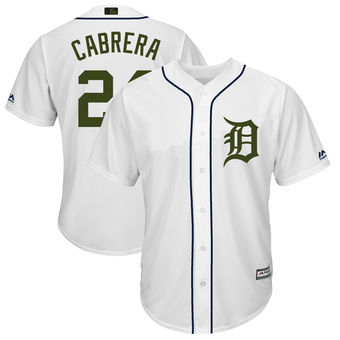 Men's Detroit Tigers 24 Miguel Cabrera Majestic White 2018 Memorial Day Cool Base Player Jersey