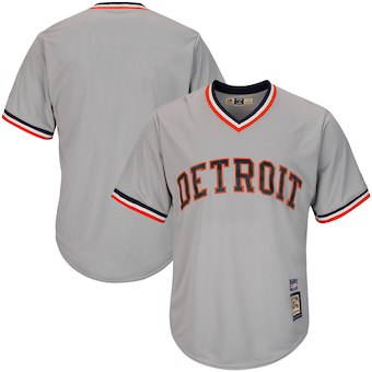 Men's Detroit Tigers Majestic Blank Gray Big & Tall Cooperstown Collection Cool Base Team Jersey