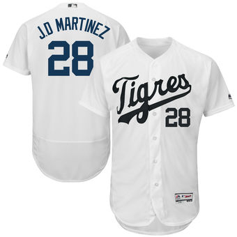 Men's Detroit Tigers 28 JD Martinez Majestic White Hispanic Heritage Flex Base Player Jersey