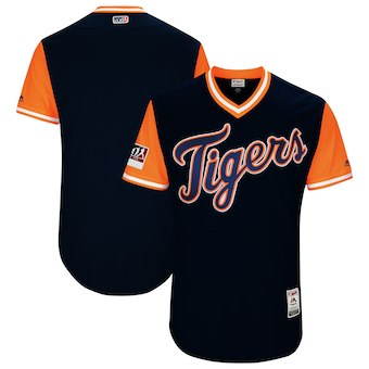 Men's Detroit Tigers Blank Majestic Navy 2018 Players' Weekend Authentic Team Jersey