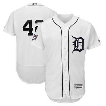 Men's Detroit Tigers Majestic White 42 Jackie Robinson Day Authentic Flex Base Jersey