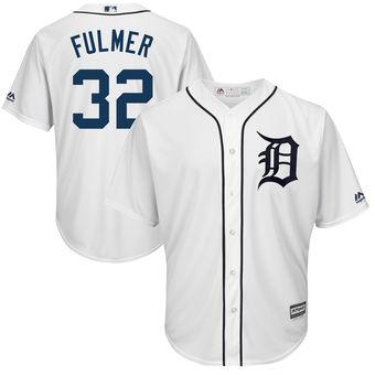 Men's Detroit Tigers 32 Michael Fulmer Majestic White Cool Base Player Jersey