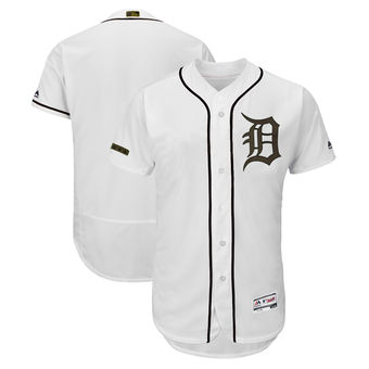 Men's Detroit Tigers Blank Majestic White 2018 Memorial Day Authentic Collection Flex Base Team Jersey