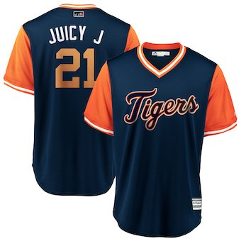 Men's Detroit Tigers 21 Jacoby Jones Juicy J Majestic Navy 2018 Players' Weekend Cool Base Jersey