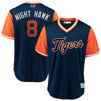 Men's Detroit Tigers 8 Mikie Mahtook Night Hawk Majestic Navy 2018 Players' Weekend Cool Base Jersey
