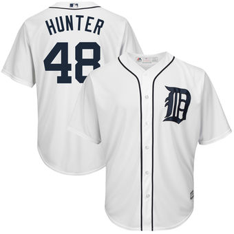 Men's Detroit Tigers 48 Torii Hunter Majestic White Home Cool Base Player Jersey