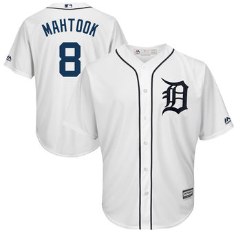 Men's Detroit Tigers 8 Mikie Mahtook Majestic White Home Cool Base Player Jersey