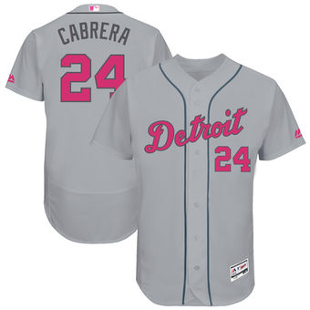 Men's Detroit Tigers 24 Miguel Cabrera Majestic Gray Mother's Day Flex Base Jersey