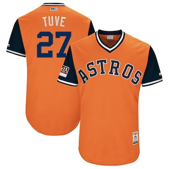 Men's Houston Astros 27 Jose Altuve Tuve Majestic Orange 2018 Players' Weekend Authentic Jersey