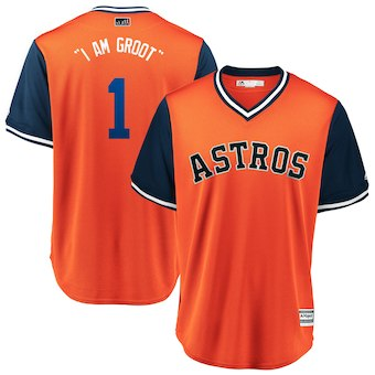 Men's Houston Astros 1 Carlos Correa I Am Groot Majestic Orange 2018 Players' Weekend Cool Base Jersey