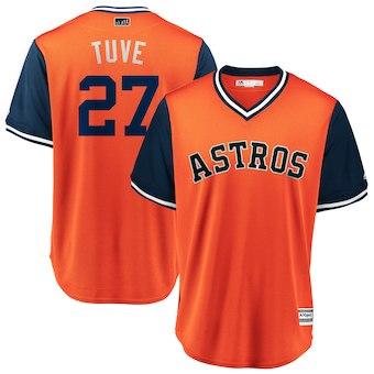 Men's Houston Astros 27 Jose Altuve Tuve Majestic Orange 2018 Players' Weekend Cool Base Jersey