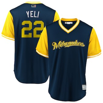 Men's Milwaukee Brewers 22 Christian Yelich Yeli Majestic Navy 2018 Players' Weekend Cool Base Jersey