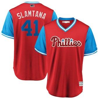 Men's Philadelphia Phillies 41 Carlos Santana Slamtana Majestic Scarlet 2018 Players' Weekend Cool Base Jersey