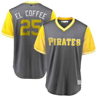 Men's Pittsburgh Pirates 25 Gregory Polanco El Coffee Majestic Gray 2018 Players' Weekend Cool Base Jersey
