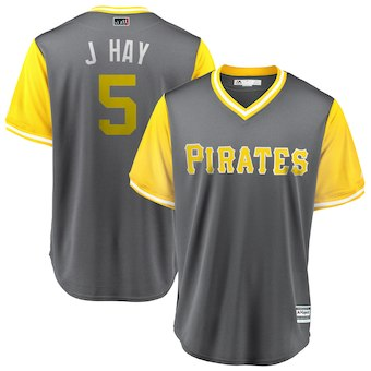 Men's Pittsburgh Pirates 5 Josh Harrison J Hay Majestic Gray 2018 Players' Weekend Cool Base Jersey