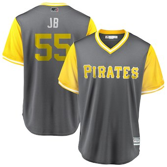 Men's Pittsburgh Pirates 55 Josh Bell JB Majestic Gray 2018 Players' Weekend Cool Base Jersey