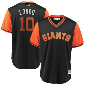 Men's San Francisco Giants 10 Evan Longoria Longo Majestic Black 2018 Players' Weekend Cool Base Jersey