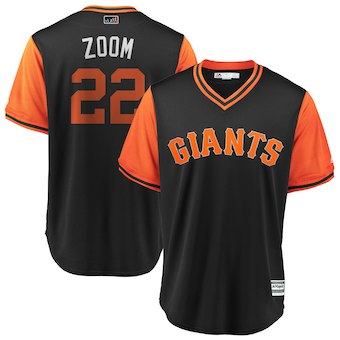 Men's San Francisco Giants 22 Andrew McCutchen Zoom Majestic Black 2018 Players' Weekend Cool Base Jersey