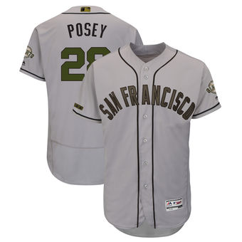 Men's San Francisco Giants 28 Buster Posey Majestic Gray 2018 Memorial Day Authentic Collection Flex Base Player Jersey
