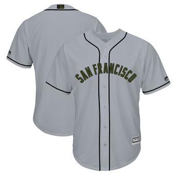 Men's San Francisco Giants Blank Majestic Gray 2018 Memorial Day Cool Base Team Jersey