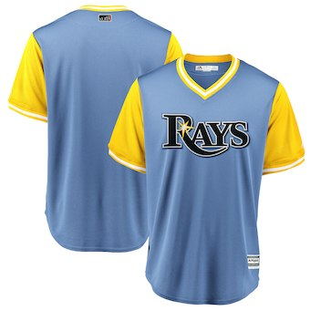 Men's Tampa Bay Rays Blank Majestic Light Blue 2018 Players' Weekend Team Cool Base Jersey
