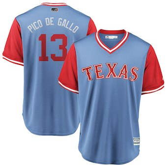Men's Texas Rangers 13 Joey Gallo Pico de Gallo Majestic Light Blue 2018 Players' Weekend Cool Base Jersey