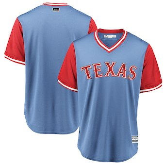 Men's Texas Rangers Blank Majestic Light Blue 2018 Players' Weekend Team Cool Base Jersey