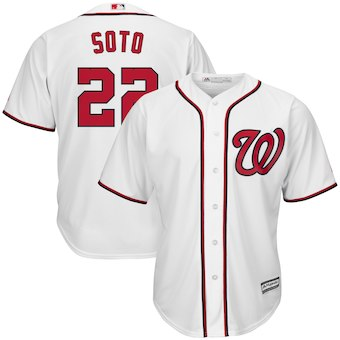 Mens Washington Nationals 22 Juan Soto Majestic White Home Official Cool Base Player Jersey