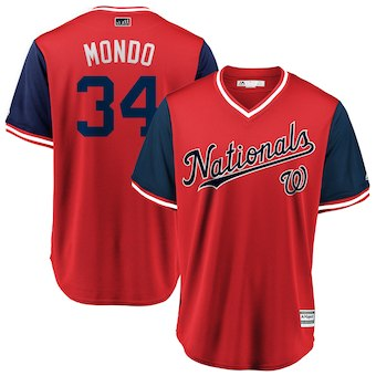Men's Washington Nationals 34 Bryce Harper Mondo Majestic Red 2018 Players' Weekend Cool Base Jersey