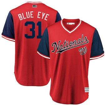 Men's Washington Nationals 31 Max Scherzer Blue Eye Majestic Red 2018 Players' Weekend Cool Base Jersey
