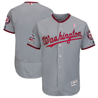 Men's Washington Nationals Majestic Blank Gray 2018 Mother's Day Road Flex Base Team Jersey