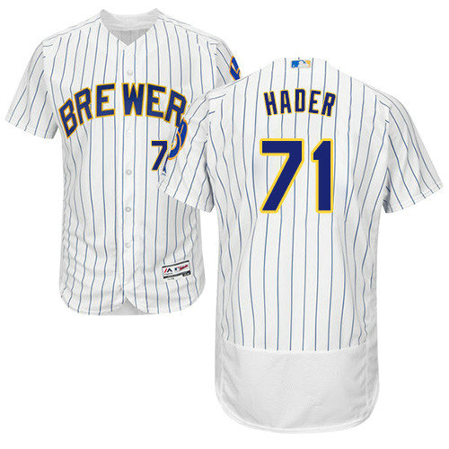Milwaukee Brewers 71 Josh Hader White Strip Flexbase Authentic Collection Stitched Baseball Jersey