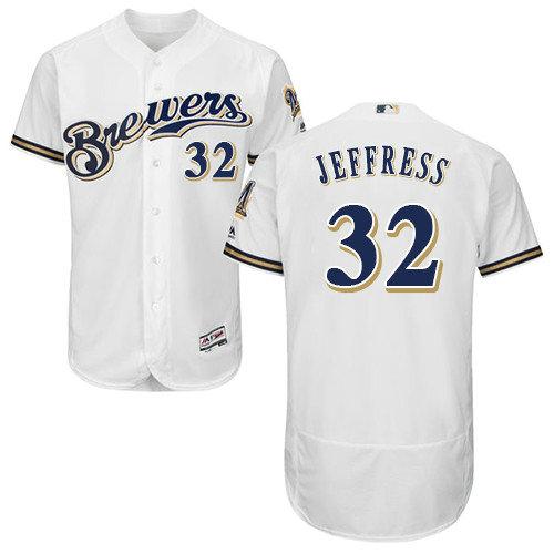 Milwaukee Brewers 32 Jeremy Jeffress White Flexbase Authentic Collection Stitched Baseball Jersey