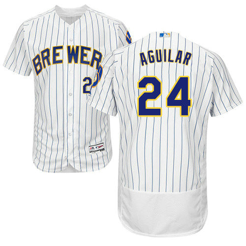 Milwaukee Brewers 24 Jesus Aguilar White Strip Flexbase Authentic Collection Stitched Baseball Jersey