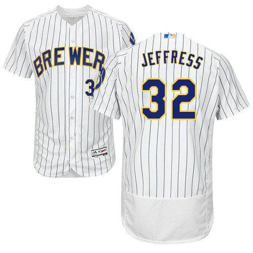 Milwaukee Brewers 32 Jeremy Jeffress White Strip Flexbase Authentic Collection Stitched Baseball Jersey