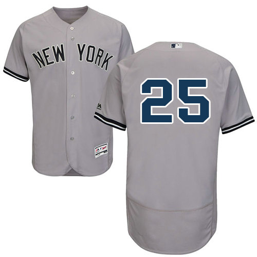 New York Yankees 25 Gleyber Torres Grey Flexbase Authentic Collection Stitched Baseball Jersey