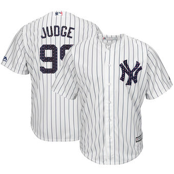 New York Yankees 99 Aaron Judge Majestic White 2018 Stars & Stripes Cool Base Player Jersey