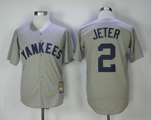 New York Yankees 2 Derek Jeter Majestic Gray Road Cool Base Cooperstown Collection Player Jersey