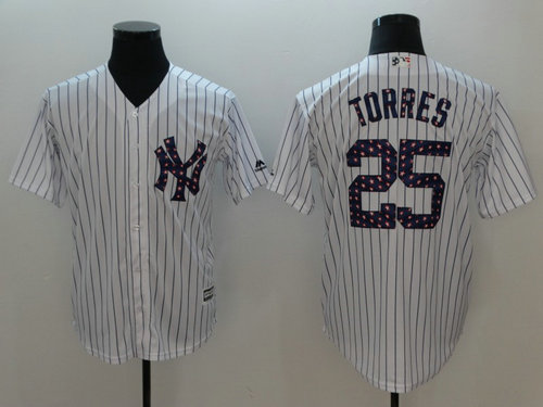 New York Yankees 25 Gleyber Torres Majestic White 2018 Stars & Stripes Cool Base Player Jersey