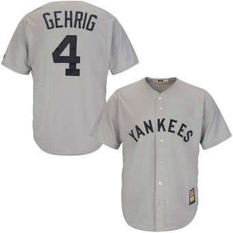 New York Yankees 4 Lou Gehrig Majestic Gray Road Cool Base Cooperstown Collection Player Jersey