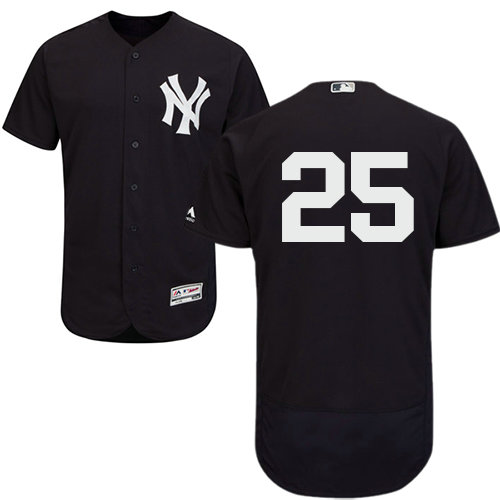 New York Yankees 25 Gleyber Torres Navy Blue Flexbase Authentic Collection Stitched Baseball Jersey