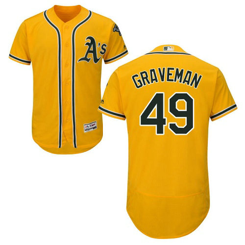 Oakland Athletics 49 Kendall Graveman Gold Flexbase Authentic Collection Stitched Baseball Jersey