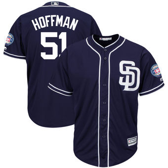 San Diego Padres 51 Trevor Hoffman Majestic Navy Hall of Fame Induction Patch Cool Base Jersey